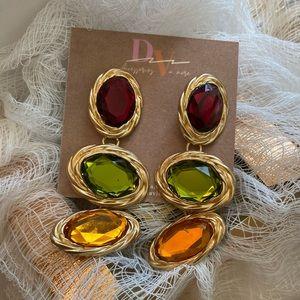 Ruby Tri-colored Drop Earrings